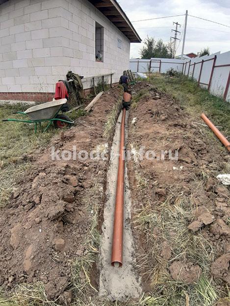 Прокладка трубы канализации от дома к септику